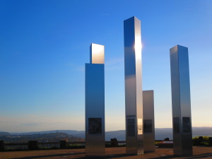 Tall silver blades above the town of Pforsheim, Germany, memorializing the fire-bombing of the city during WWII.